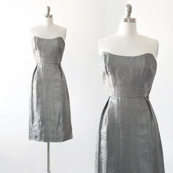 Lame bombshell dress | Vintage 50s silver metal la