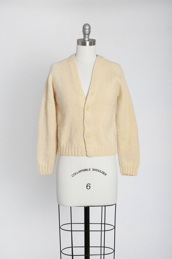 40s hand knit ivory wool cardigan