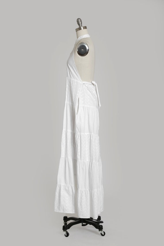 90s white cotton halter dress   1990s embroidered… - image 7