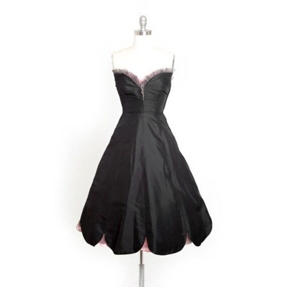 50s couture Seymour silk dress | Vintage 50s black