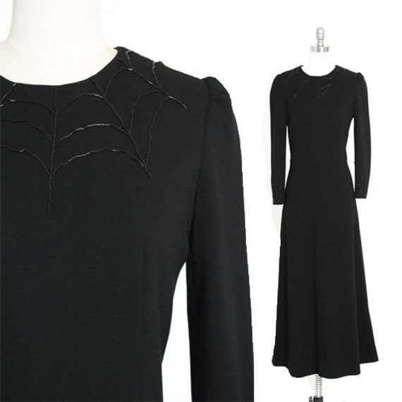 Spiderweb maxi dress | Vintage 60s black knit wool