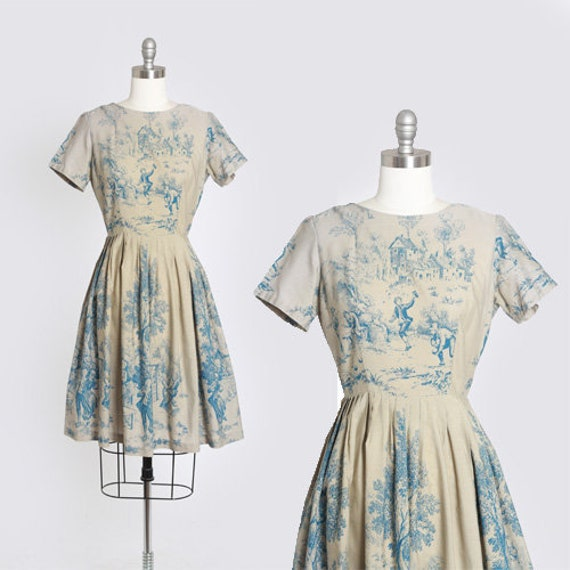 French cottage dress | Vintage 50s Novelty print d