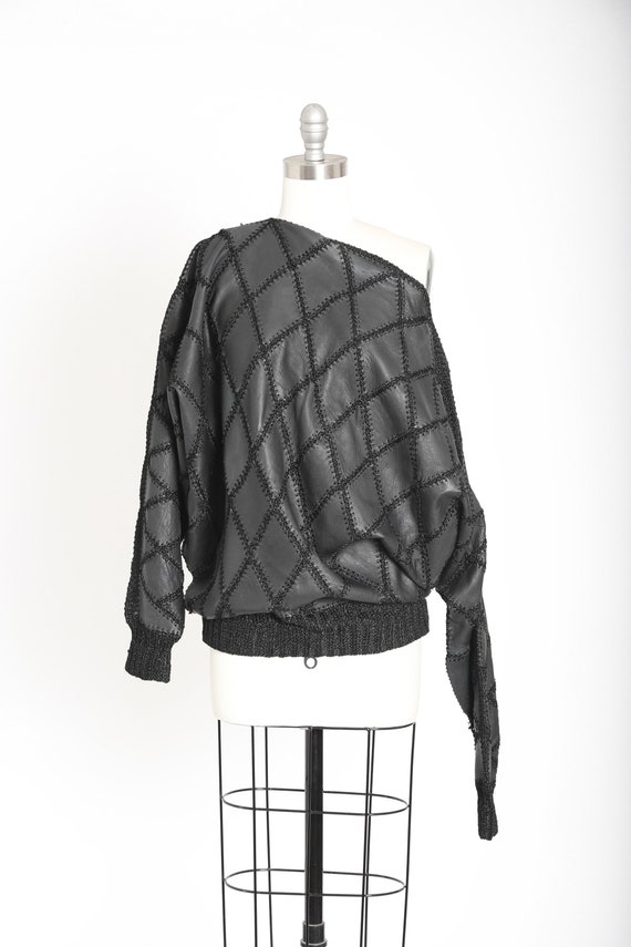 80s black leather patchwork batwing sweater top
