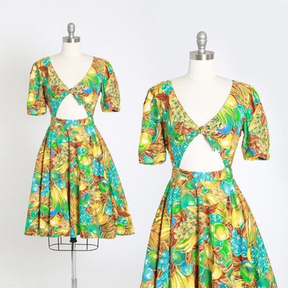 Tropical fruit dress | Vintage 90s cutout bow mini