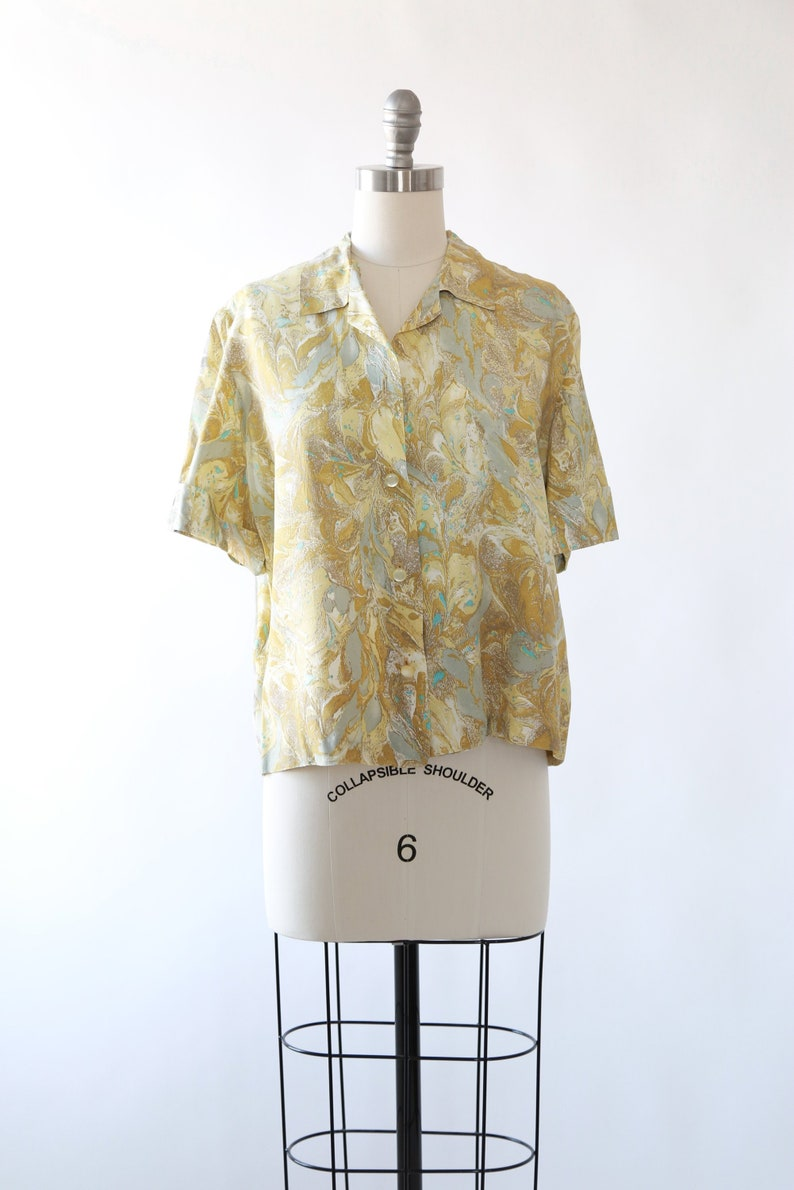 01130b4054ad5 50s Marbled Blouse Vintage 1950s cropped blouse M