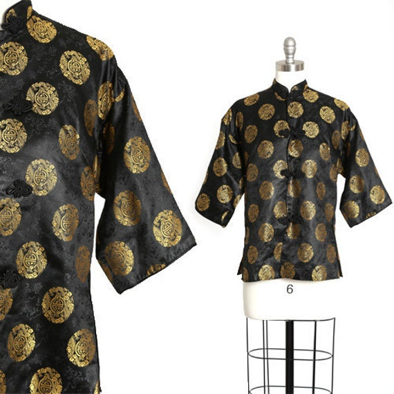 40s Pajama blouse | Vintage 40s silk Oriental Jap… - image 1