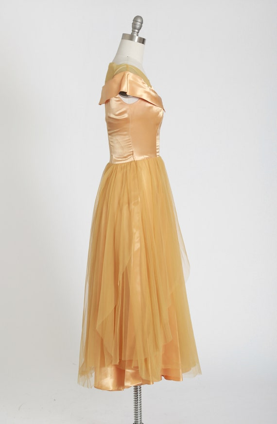 50s gold satin dress | vintage 1950s satin chiffo… - image 4