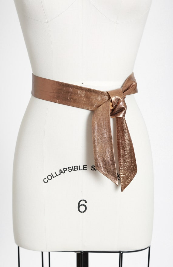 50s Gold leather belt - image 5