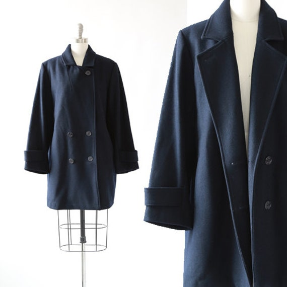 Pea Coat | Vintage 1990s Navy wool oversized Pea C
