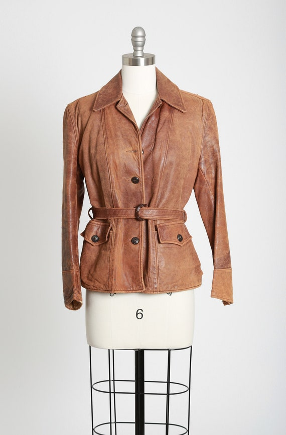 1940s 50s motorcycle leather jacket | vintage 40s