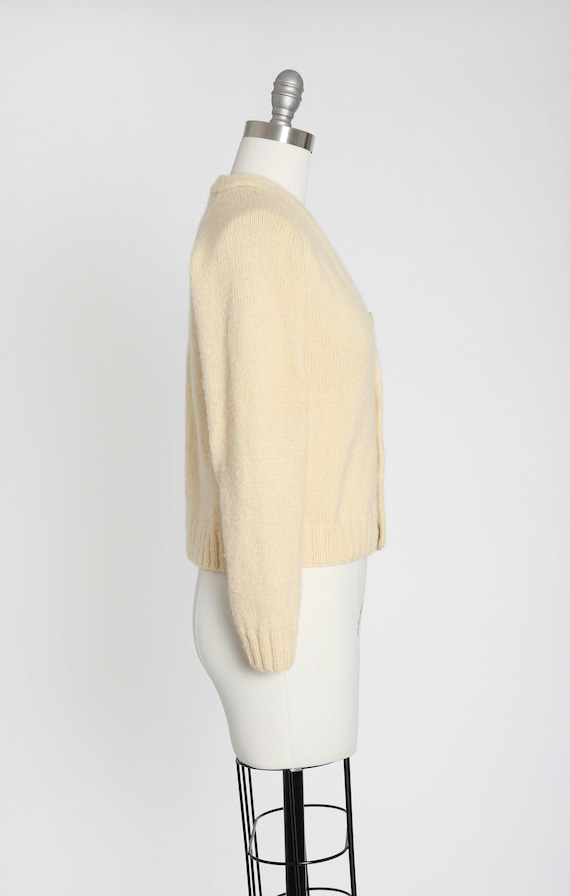 40s hand knit ivory wool cardigan - image 4