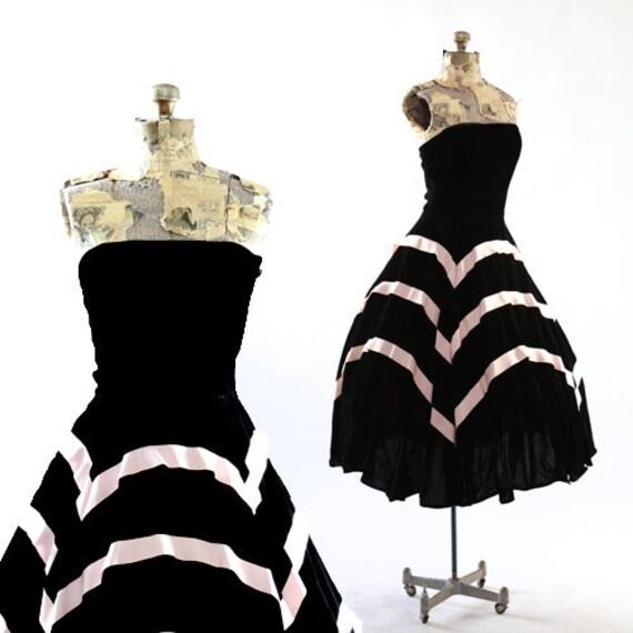 SO DIOR dress | Vintage 50s silk velvet full skirt