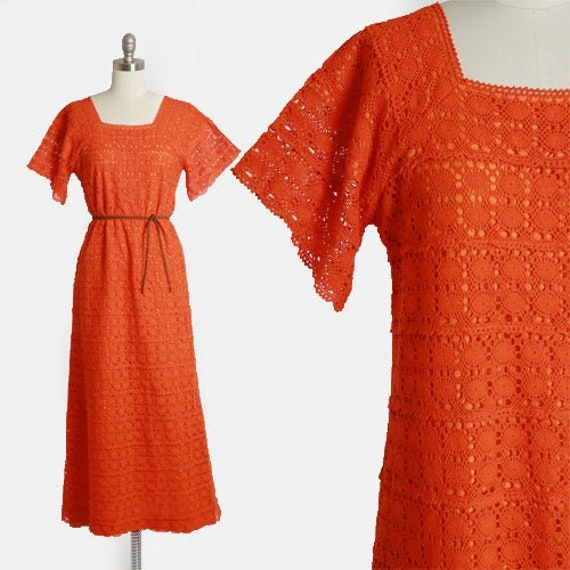 Mexican crochet dress | Vintage 70s Orange crochet