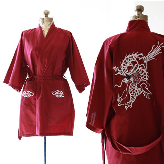 70s Dragon robe | Vintage 70s embroidered robe kim