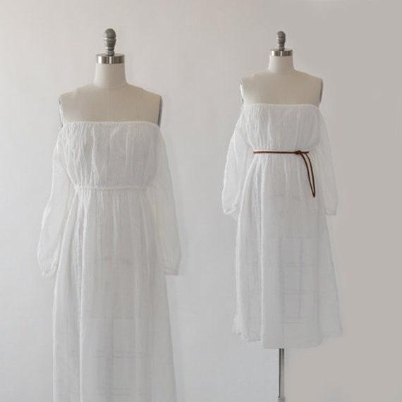 70s Gauze Grecian Dress | Vintage 1970s Cotton Gau