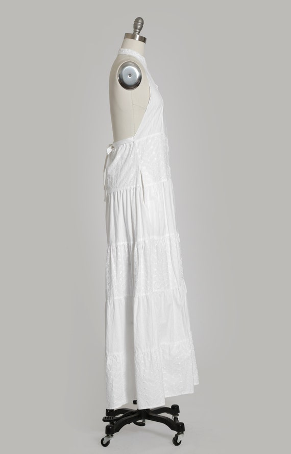 90s white cotton halter dress   1990s embroidered… - image 6