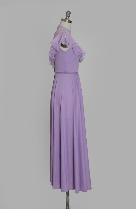Lilac ruffle maxi   Vintage 70s sheer floral ruff… - image 5