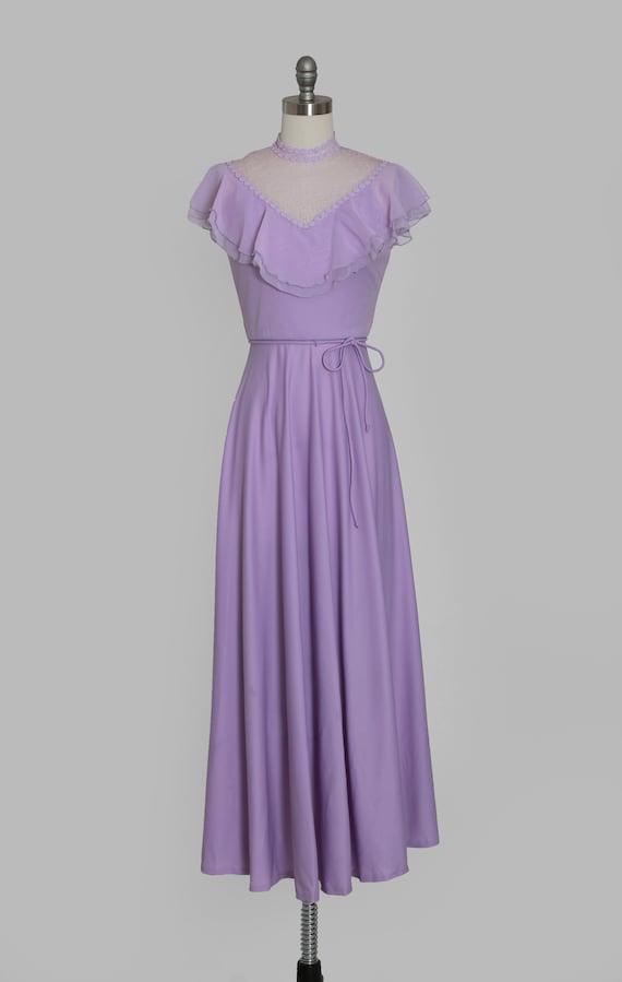 Lilac ruffle maxi   Vintage 70s sheer floral ruff… - image 2
