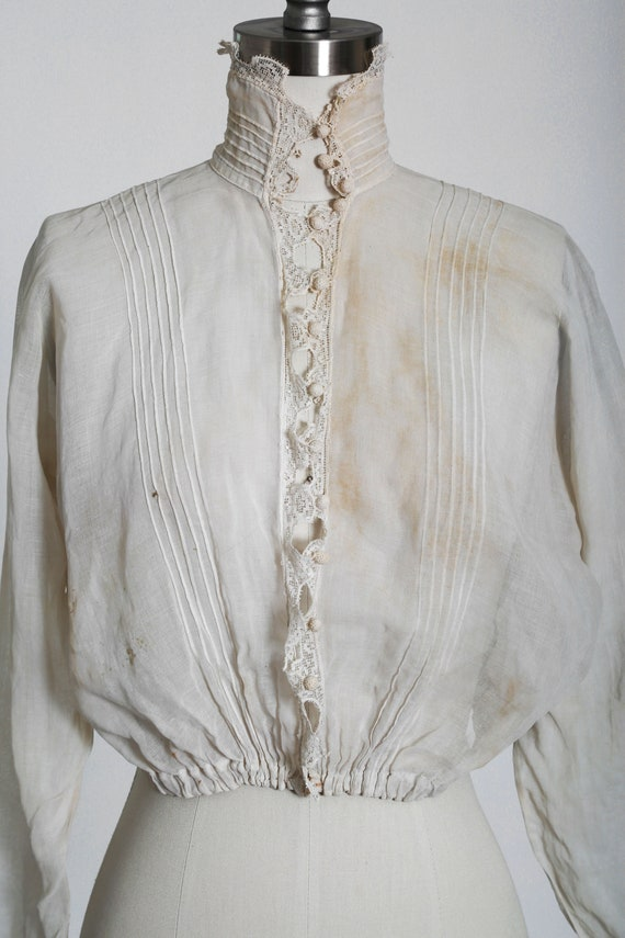 Antique 1900s Victorian crochet sheer white cotto… - image 4