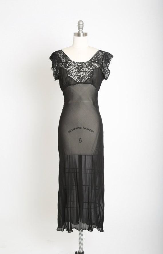 Bias cut slip dress | Vintage 40s black silk lace… - image 2