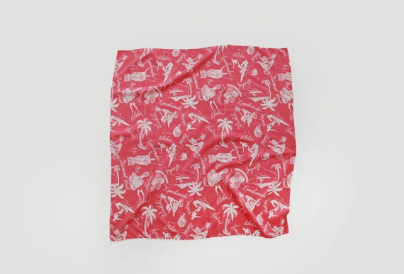 Pink Hawaiian scarf | Vintage 40s tropical Hawaii… - image 1
