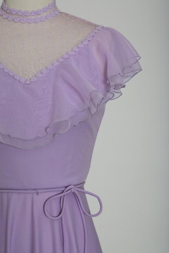 Lilac ruffle maxi   Vintage 70s sheer floral ruff… - image 4
