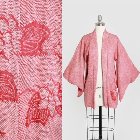 Textured floral kimono | Vintage 1950s silk kimono
