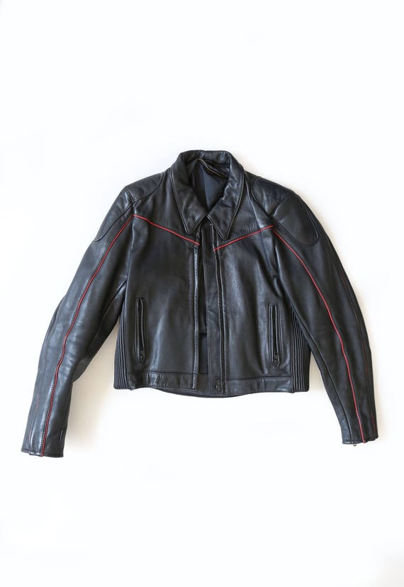 Motorcycle jacket | Vintage 80s Black Leather Moto