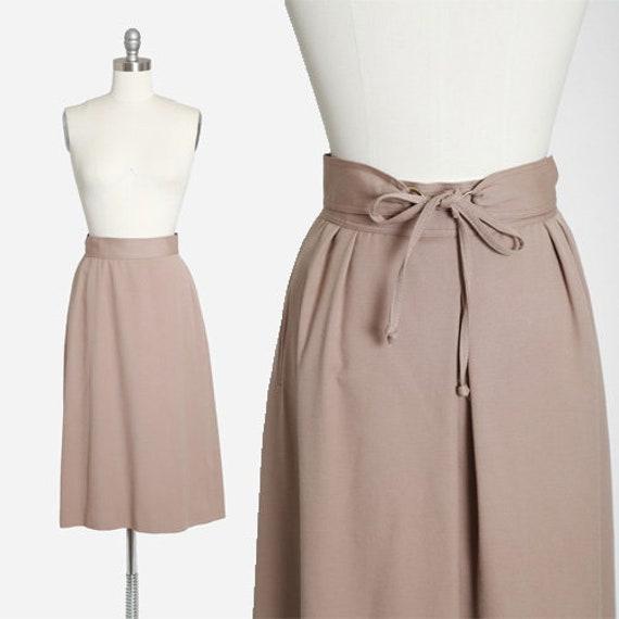 Tan wool skirt | Vintage 70s wrap wool skirt | 197