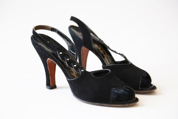 Countess 1950s jeweled heels | Vintage 50s black l