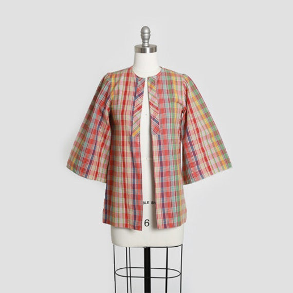 Patty Woodard plaid top | Vintage 60s rainbow plai