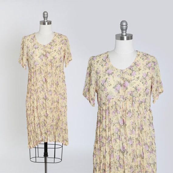 90s floral semi sheer mini dress
