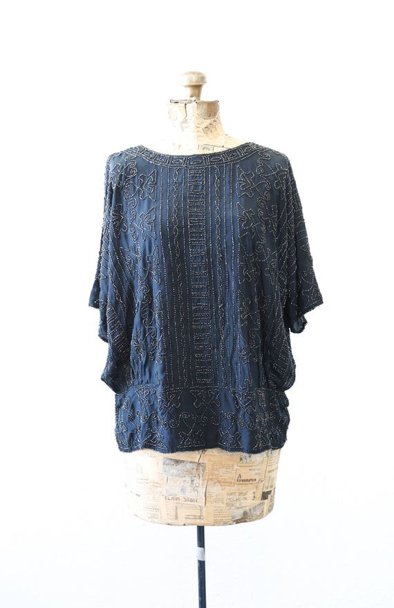 20s French silk beaded blouse | Vintage 20s silk g