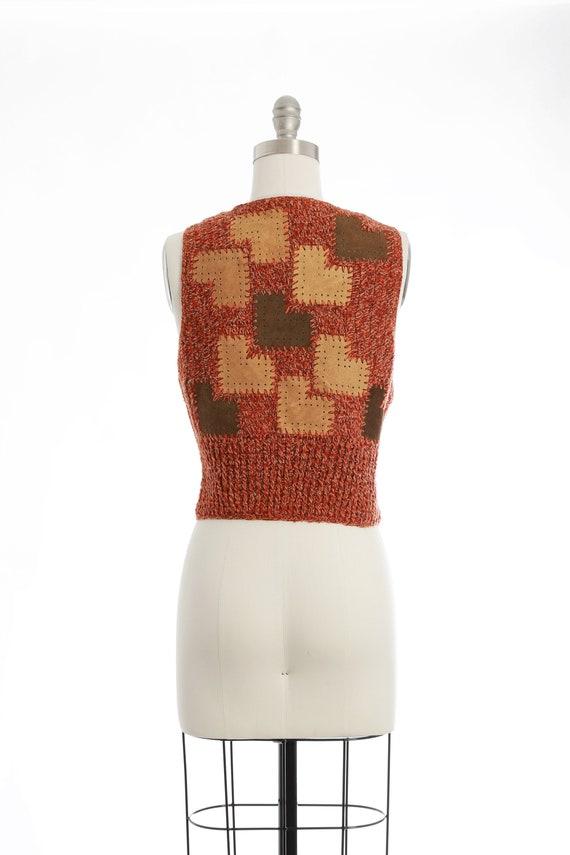 70s crochet leather patchwork vest