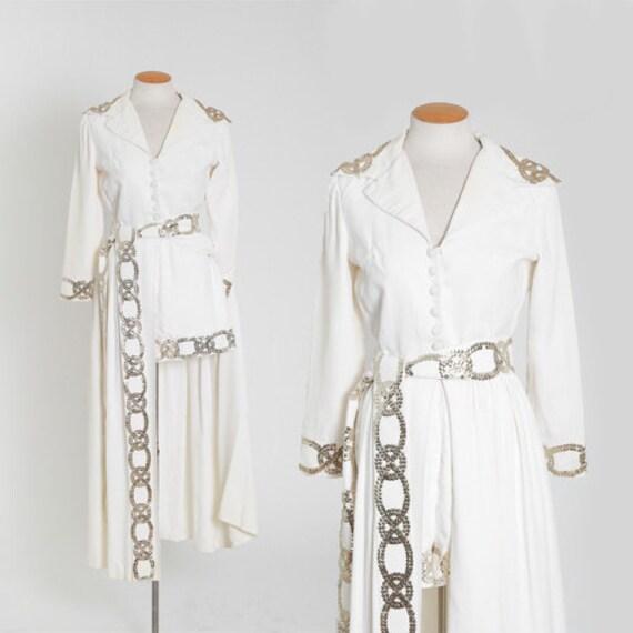 Emma Domb 3pc set | Vintage 60s white crepe sequin