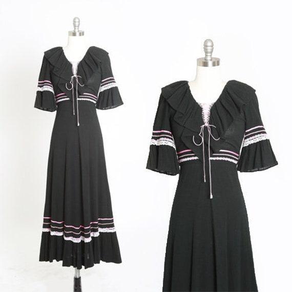 70s black gauze dress | Vintage 70s cotton gauze p