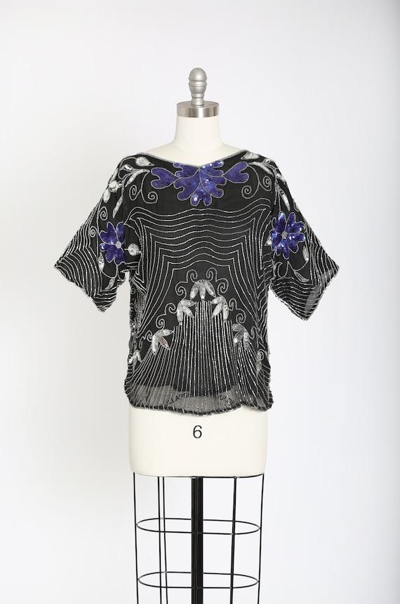 Deco sequin blouse | Vintage 80s silk floral beade