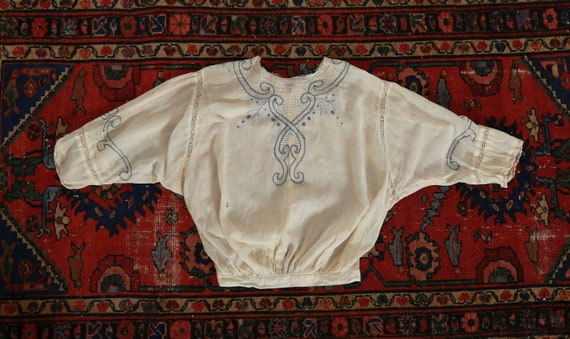Antique 1900s Edwardian hand embroidered blue scr… - image 3
