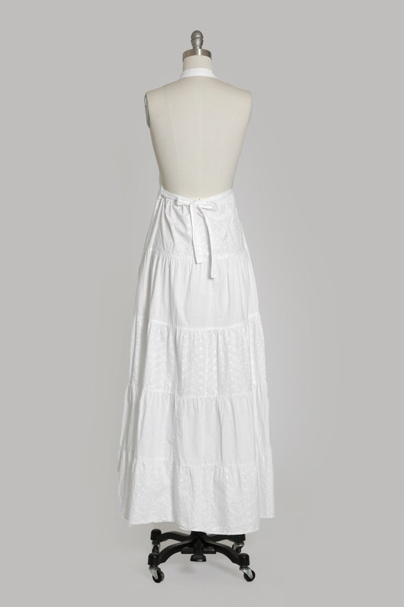 90s white cotton halter dress   1990s embroidered… - image 8