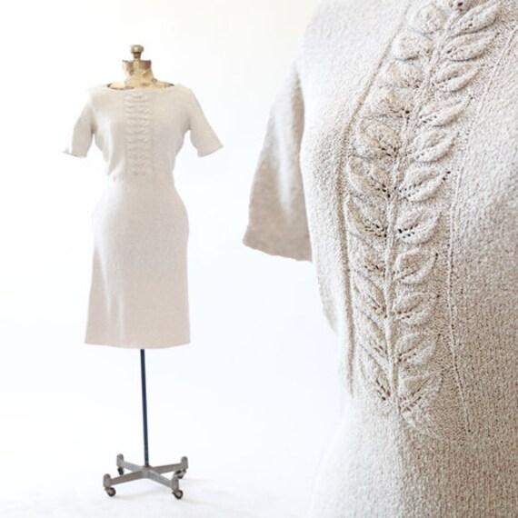 Feuille Dress | Vintage 30s crochet Knit midi dres
