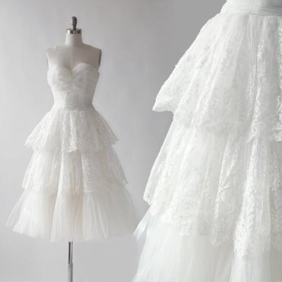 Corrine wedding dress | Vintage 50s floral lace ti