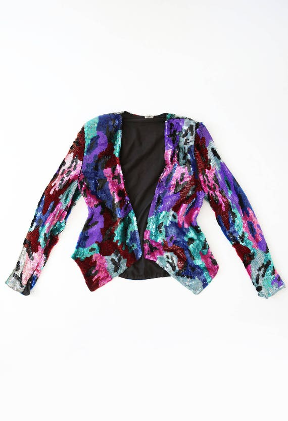 Vintage sequin S full dress coat cropped 80s Blazer jacket SILK abstract aqgFB