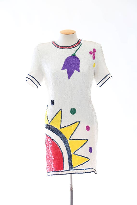dress Vintage SUN Sun Sequin Dress Sequin POP ART silk 80s floral tITxFgq