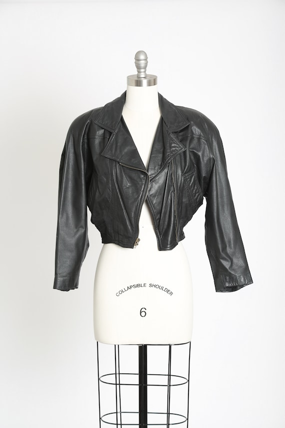 80s cropped black leather jacket