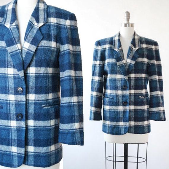 Dianne B plaid blazer | Vintage 90s blue plaid bla