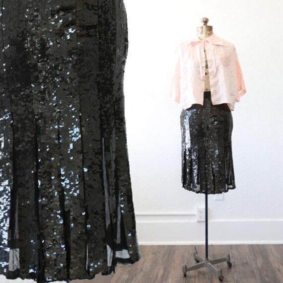 Sequin flapper skirt | Vintage 70s 20s silk Sequin