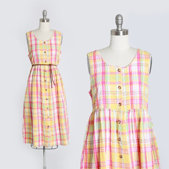 Spring plaid dress   vintage 90s plaid cotton jump