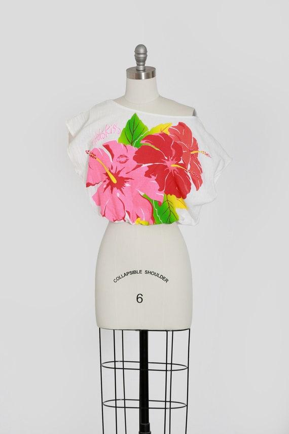 Hibiscus gauze blouse | Vintage 80s 90s cotton Haw
