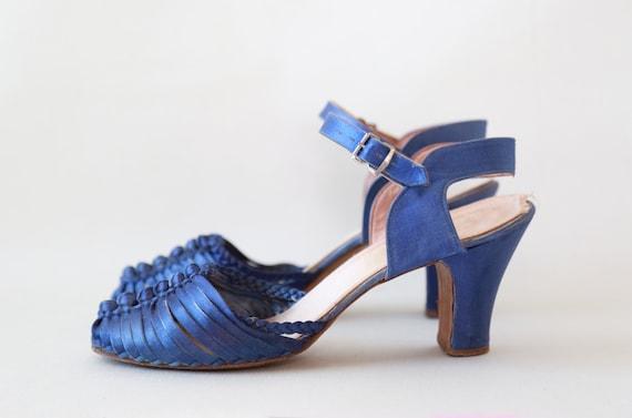 40s blue satin pumps | Vintage 40s braided heels |