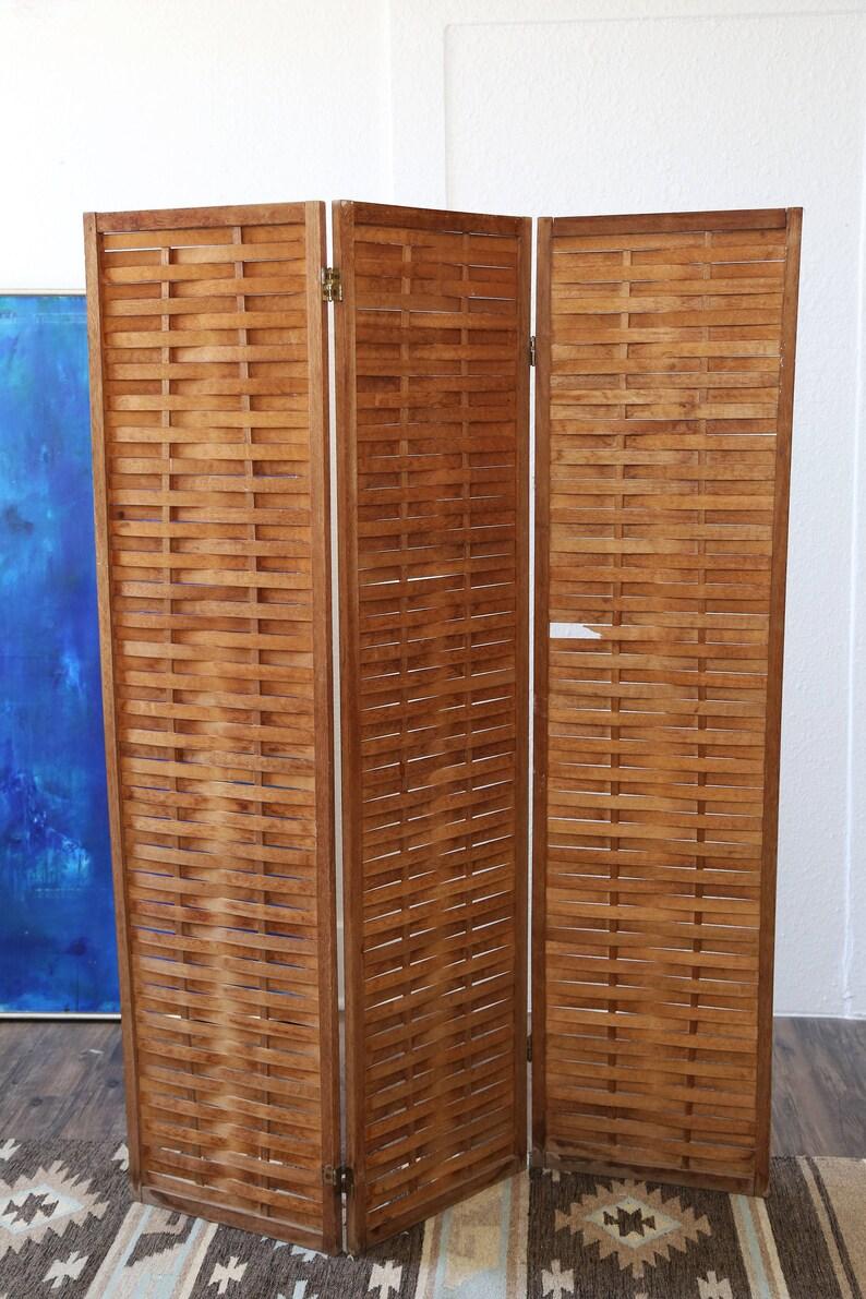 8e233b349e41 Vintage Mid century Modern Teak wood room divider Screen 3